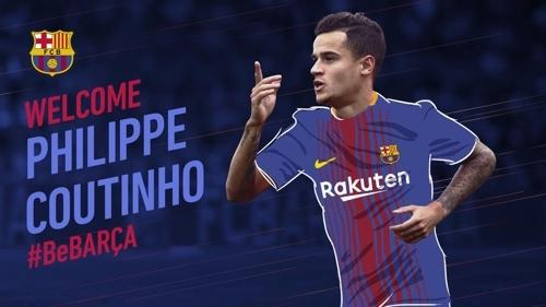 쿠티뉴가 리버풀을 떠나 바르셀로나로 이적했다. 쿠티뉴가 바르셀로나 유니폼을 입고 있는 합성사진. [사진 바르셀로나 홈페이지]