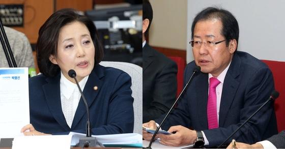 더불어민주당 박영선 의원(왼쪽)과 자유한국당 홍준표 대표. 강정현 기자