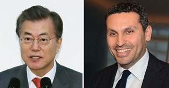 문재인 대통령(왼쪽)과 칼둔 칼리파 알 무바라크 UAE 아부다비 행정청장. [연합뉴스]