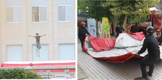 서울시 소방서에 배치된 안전매트. 기존 매트는 4명이 운반해 설치해 10분 이상 소요됐다. [사진 서울시]
