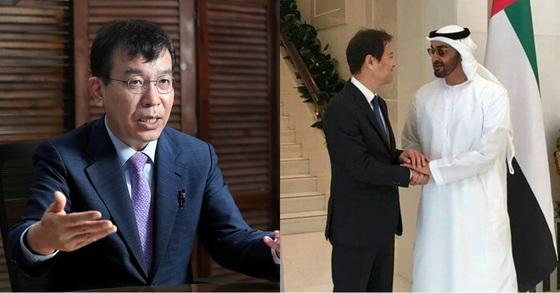 정의당 김종대 의원(왼쪽)과 아랍에미리트(UAE)를 방문한 임종석 청와대 비서실장. 신인섭 기자, 청와대 제공.