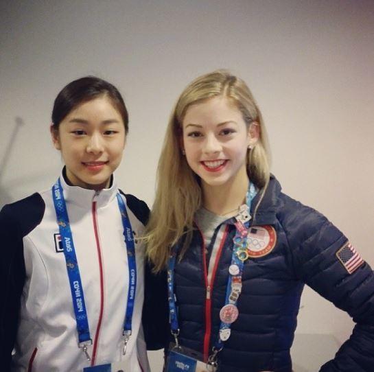 소치 올림픽 피겨 경기 후 기념사진을 찍은 김연아와 그레이시 골드(오른쪽). [사진 골드 SNS]