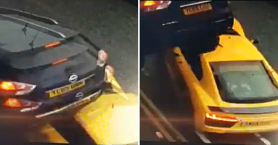 지난달 31일(현지시간) 영국 도심에서 벌어진 스포츠카 교통사고 모습 [유튜브 캡처]