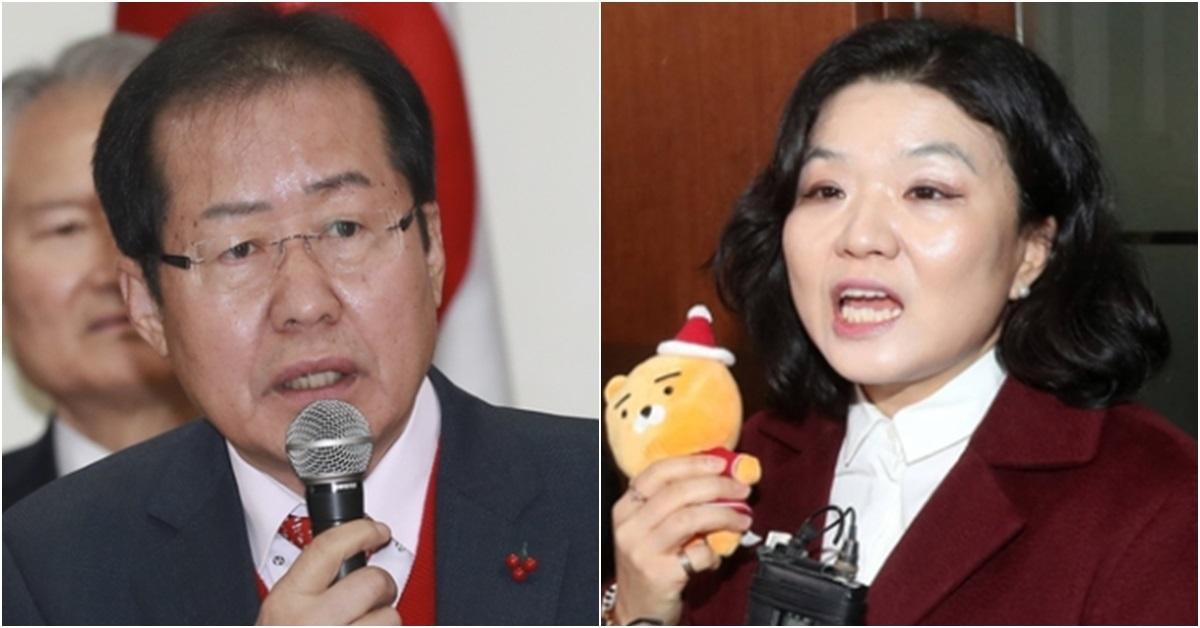 홍준표 자유한국당 대표(왼쪽)와 류여해 전 최고위원. [중앙포토]