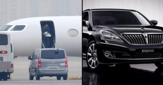 지난 8일 김포국제공항을 통해 입국한 UAE 칼둔 청장 측이 의전 차량을 두고 에쿠스 리무진(VL500)과 벤츠 사이에서 고민한 것으로 알려졌다. [사진 연합뉴스, 현대자동차]