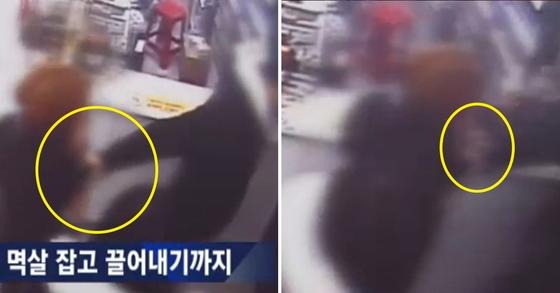 인천 여고생 집단 폭행 당시 상황. 한 남성이 편의점에서 피해 여고생의 멱살을 잡은 채 끌어내고 있다. [JTBC 화면 캡처]
