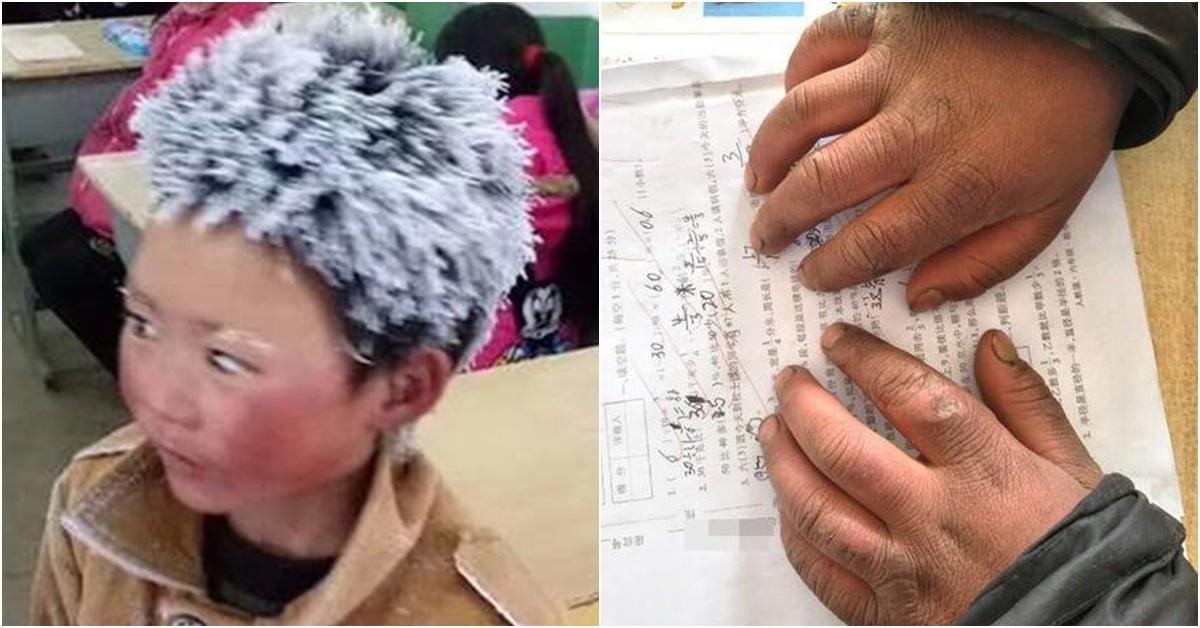 중국에서 극심한 추위 속에서 등교하다가 머리가 서리로 뒤덮인 소년의 사진 한 장이 중국 수백만 네티즌을 울렸다. 중국 언론은 윈난성 루뎬현의 가난한 시골마을에 사는 8살 난 왕푸만(王福滿)의 사연을 소개하면서 사진 한 장을 공개했다. 왕푸만의 사진(왼쪽). [사진 런민왕]