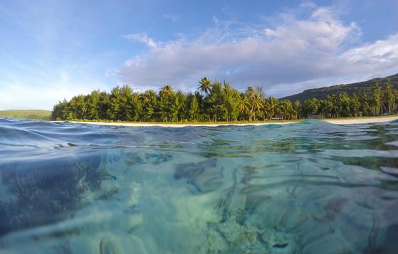 북마리아나제도 로타에서 가장 인기 있는 해수욕장인 테테토비치. 가장 인기 있다 해도 이웃섬인 사이판이나 괌 해수욕장처럼 북적이지 않는다. 20m만 바다로 걸어가도 산호밭이 펼쳐져 있다.
