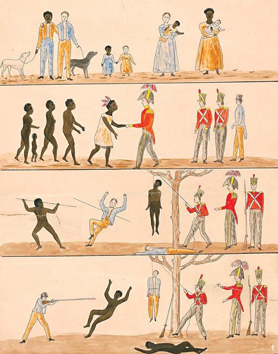 '데이비 총독의 대 원주민 포고령, 1816년'(1828~1830년). 대항해시대에 오스트레일리아에 처음 도착한 백인들이 원주민들과 그림으로 의사소통을 하는 상황을 묘사한 작품. 문명의 발달이 덜한 문화권에선 형이상학적인 걸 뜻하는 추상적인 단어가 적다.[중앙포토]