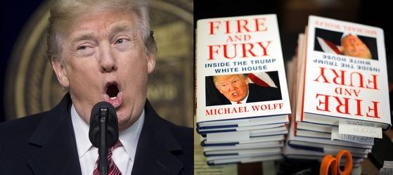 트럼프 대통령과 그에 대한 비판적인 내용을 담은 『화염과 분노』.