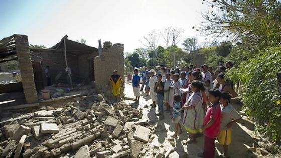 2012년 당시 멕시코에서 발생한 지진으로 붕괴된 가옥 [EPA=연합뉴스]