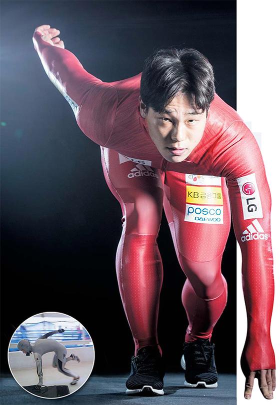 스켈레톤 국가대표 윤성빈은 2012년 75㎏이던 몸무게(왼쪽 작은 사진)를 올해 87㎏까지 늘렸다. 종목 특성상 체중이 많이 나갈 수록 유리하다. [권혁재 사진전문기자]