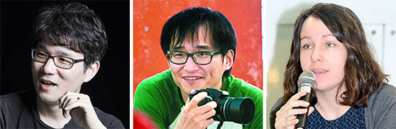 왼쪽부터 장강명, 김연수, 데버러 스미스.