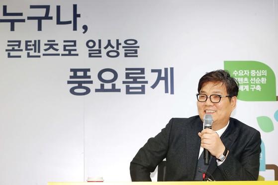 17일 김영준 한국콘텐츠진흥원 신임원장이 서울 광화문 CKL 기업지원센터에서 기자간담회에서 정책을 설명하고 있다.