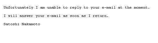 사토시 나카모토가 보내온 e-메일 답장.