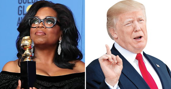 2020 대선 출마설에 휩싸인 오프라 윈프리(왼쪽)와 도널드 트럼프 미국 대통령. [연합뉴스]