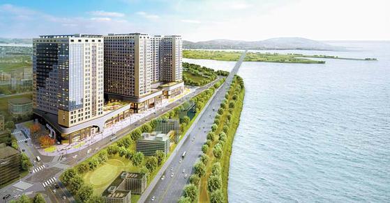 부산진해경제자유구역의 배후주거지인 명지국제도시에 들어서는 대방디엠시티 센텀오션 조감도.