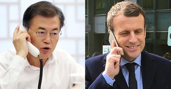 문재인 대통령(좌)과 프랑스 에마뉘엘 마크롱 대통령(우) 18일 오후 전화 통화를 하고 평창 겨울올림픽의 성공적 개최와 한반도 평화 정착을 위해 긴밀히 협력하기로 했습니다. [청와대 제공ㆍ연합뉴스 자료사진]