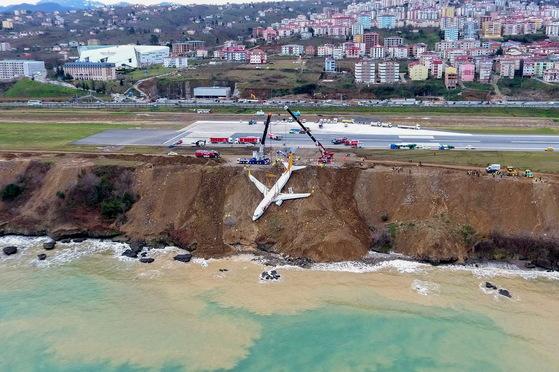 터키 북동부 트라브존 공항에서 착륙 도중 활주롤 이탈해 바다로 떨어질 뻔한 저가항공사인 페가수스 여객기. [AFP=연합뉴스]