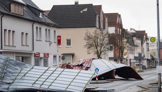 태풍 '프레데릭' 피해 직격탄을 입은 독일. [AFP=연합뉴스]