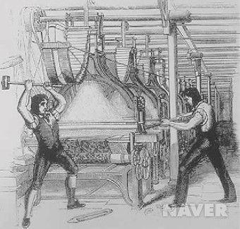 직물기계를 파괴하고 있는 러다이트 노동자들의 모습. [네이버]