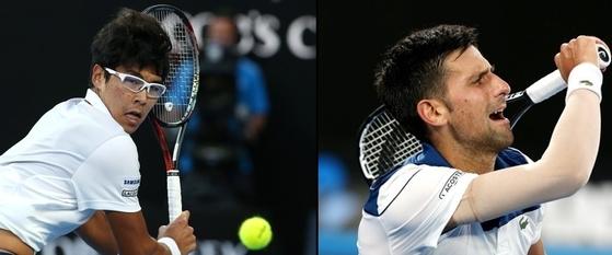 정현 선수가 호주오픈 테니스 대화 남자단식 16강전에서 노바크 조코비치를 세트스코어 3대 0으로 제치며 한국 테니스 선수 역사상 처음으로 메이저대회 8강에 올랐다. [사진 연합뉴스]