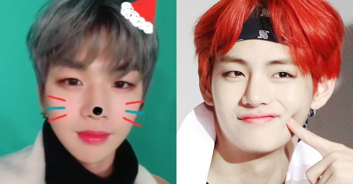 Kang Daniel of WannaOne(left) and BTS' V. Photo from Instagram @wannaone.official(left) and SBS.