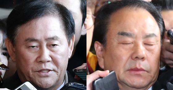 최경환 자유한국당 의원(왼쪽)과 같은 당 이우현 의원. [중앙포토]