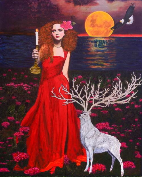 '붉은꽃 1', 162✕130㎝, 캔버스에 혼합미디어.