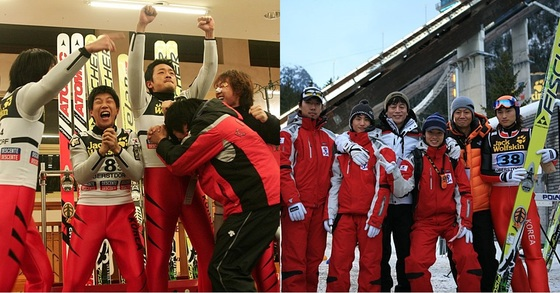 영화 '국가대표' 속 배우들이 연기한 장면(왼쪽)과 실제 주인공들. [사진 영화 '국가대표' 스틸컷]
