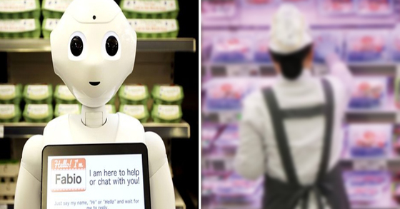 영국의 식료품 마켓 직원으로 취직했다가 일주일 만에 해고된 AI로봇 '페퍼'(좌) (오른쪽은 기사내용과 관계 없는 이미지 사진) [BBC홈페이지 캡처, 연합뉴스]