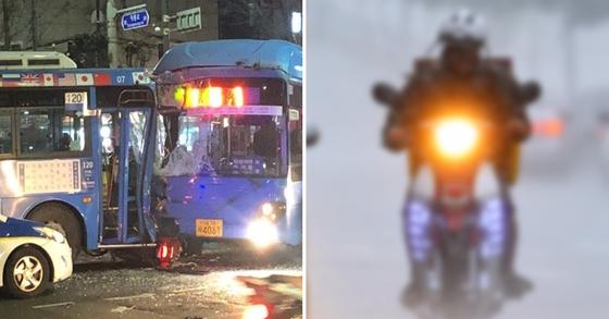25일 오후 9시께 수유역 사거리 교차로서 일어난 사고 현장 모습(좌)(오른쪽 사진은 기사 내용과 관련 없는 이미지 사진) [독자제공=연합뉴스, 중앙포토]