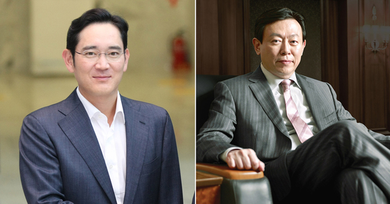 이재용(왼쪽) 삼성전자 부회장과 신동빈 롯데그룹 회장 [중앙포토]