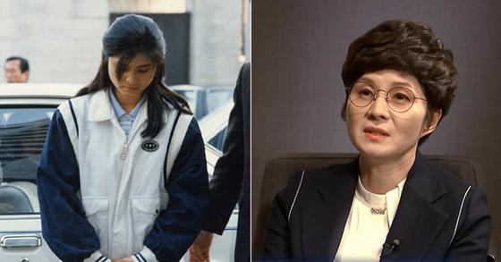 미 NBC 뉴스와 인터뷰하는 김현희(오른쪽). 왼쪽 사진은 1988년 검찰 조사 당시 모습 [사진 NBC 캡처, 중앙포토]