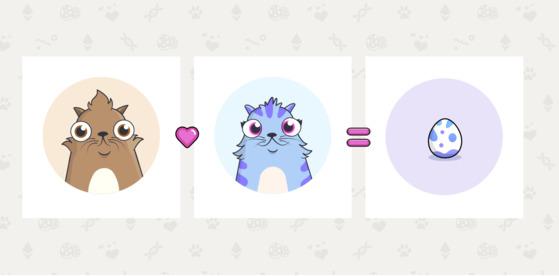 이더리움 기반으로 만들어진 가상고양이 게임 크립토키티. 각기 다른 특성을 지닌 고양이 간의 교배를 통해 새로운 고양이가 탄생한다. 희소성이 높은 고양이일수록 비싼 가격에 거래된다. [시진 크립토키티]