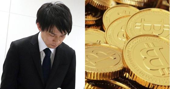 와다 고이치로 일본 코인체크 사장(왼쪽)이 26일(현지시간) 도쿄에서 기자회견을 하며 머리를 숙이고 있다. [연합뉴스]