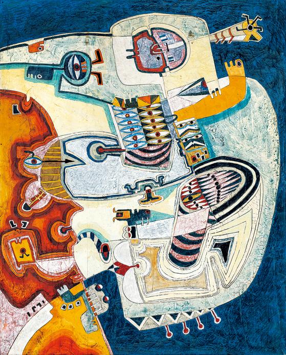 곽덕준'살을 에는 듯한 시선' (1968, 판넬에 석고, 호분, 수지, 수채, 아크릴, 162*132)[사진 갤러리현대]