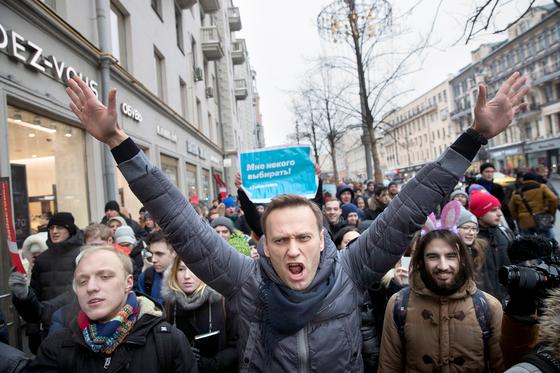 '푸틴 대항마' 나발니 반정부 시위