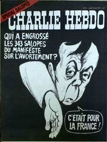 """1971년 시몬 드 보부아르가 대표 필자로 썼던 343인의 선언(Manifesto of the 343)을 풍자한 '샤를리 엡도'의 만평. '낙태 선언을 잉태한 343명의 헤픈 여자들""""이라고 커버에 소개했다."""