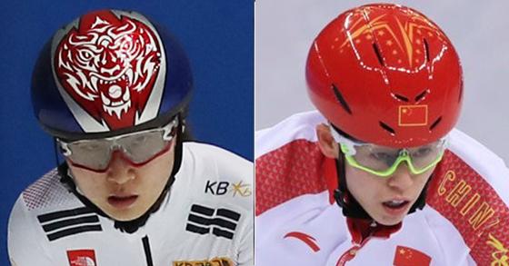 한국 쇼트트랙 여자 대표팀 최민정(왼쪽)과 중국 쇼트트랙 여자 대표팀 판커신. [중앙포토, 연합뉴스]