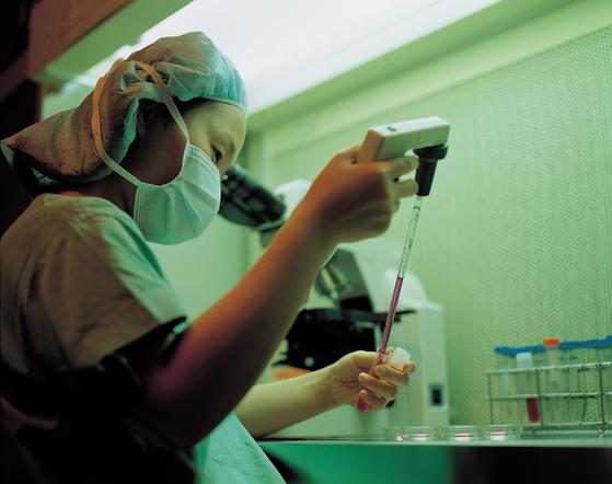 불임센터 연구진이 시험관아기 시술에 필요한 처리작업을 하고 있다.[중앙포토]