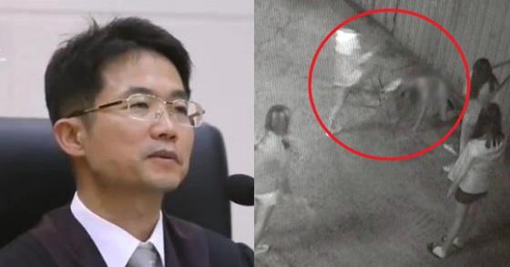 부산가정법원 천종호 부장판사(왼쪽)와 부산 여중생 폭행 사건 당시 CCTV화면 [중앙포토]
