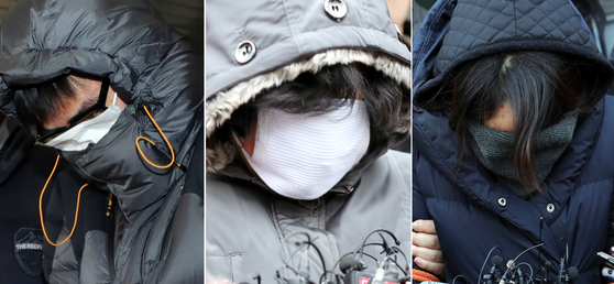 고준희양 유기혐의로 구속된 친부 고모씨, 내연녀 어머니 김모씨, 31일 구속된 내연녀 이모씨. [뉴스1]