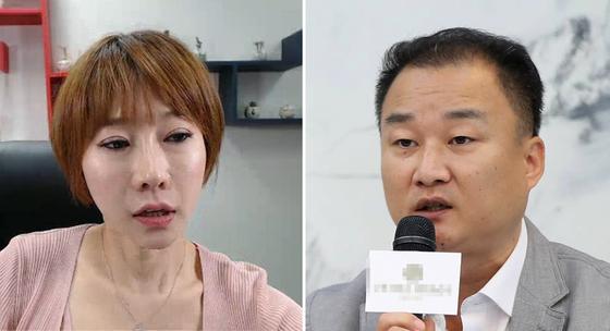 배우 곽현화(왼쪽)과 해당 영화의 이수성 감독. [사진 유튜브 캡처ㆍ연합뉴스]