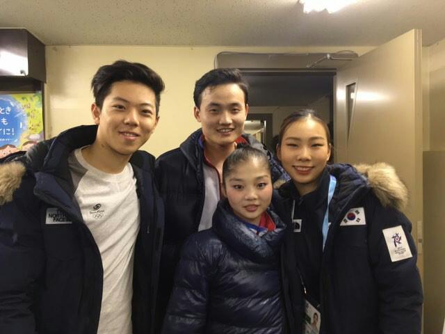 왼쪽부터 한국 감강찬, 북한 김주식과 염대옥, 한국 김규은. [사진 감강찬 인스타그램]