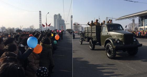 8일 오후 캐나다인 마이클 스페이버(Michael Spavor)가 자신의 트위터를 통해 공개한 북한의 열병식 현장 모습 [마이클 스페이버 트위터 캡처]