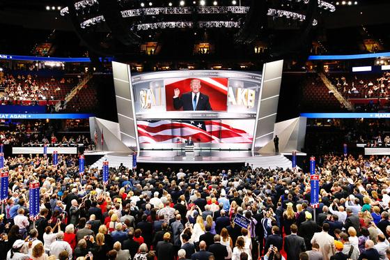 2016년 7월 18일 미국 오하이오주 클리블랜드에서 열린 공화당 전당대회 무대에 선 도널드 트럼프. 미국 공화당은 1854년 창당했다. 조선 철종 5년에 해당되는 해다. [사진제공=게티이미지]