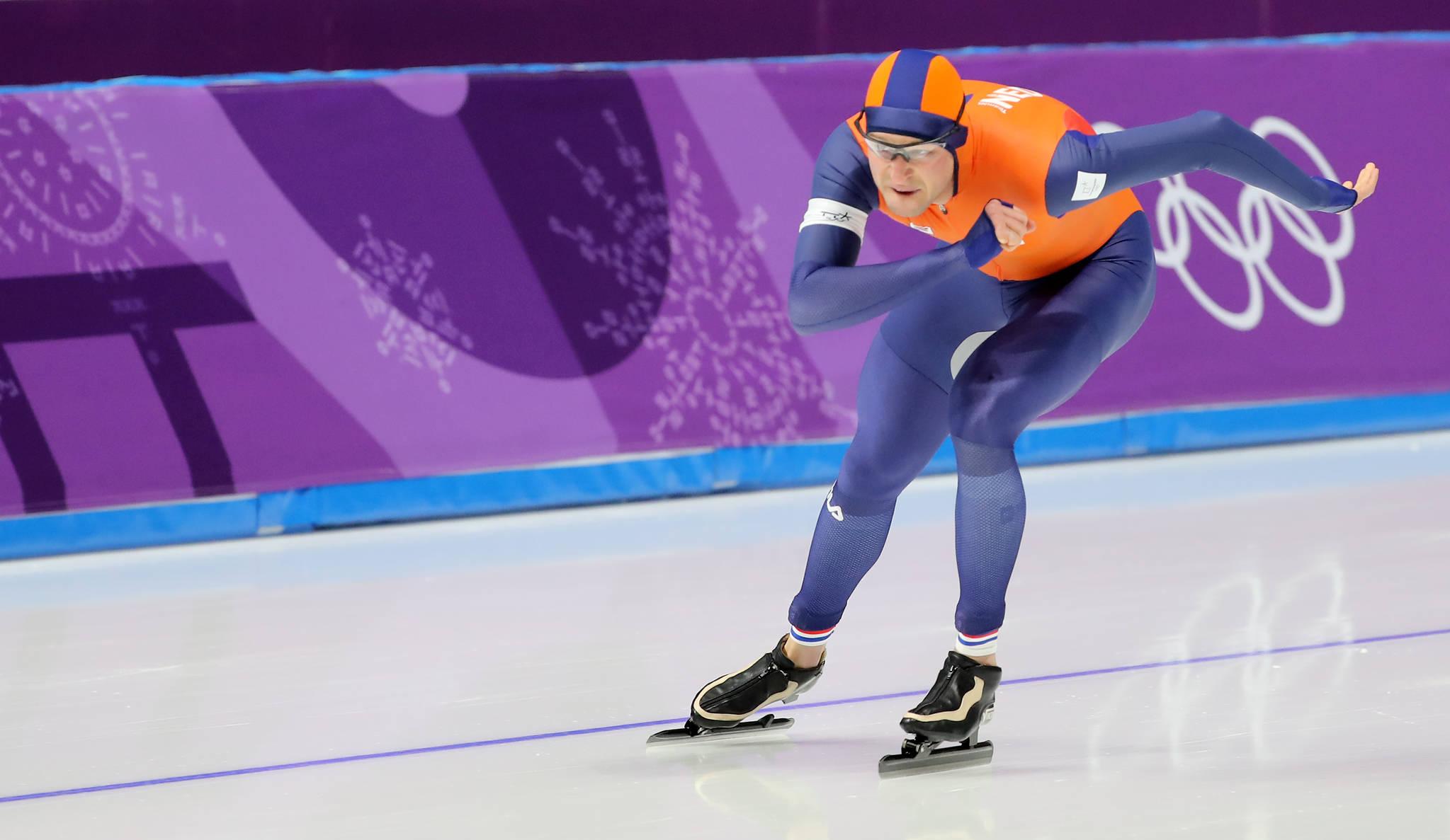 11일 강릉 스피드스케이트 경기장에서 열린 2018평창동계올림픽 스피드스케이팅 남자 5,000m에 출전한 네덜란드 스벤 크라머르가 질주하고 있다. [연합뉴스]
