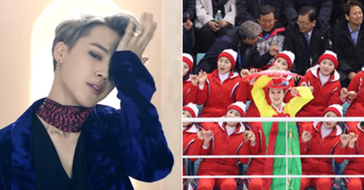 Jimin in BTS' 'Blood, Sweat & Tears' M/V and North Korean cheerleaders(Yonhap).