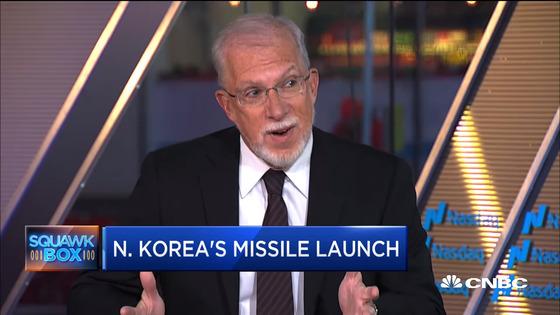 에번스 리비어 전 미 국무부 동아태 부차관보가 지난해 NBC방송 출연해 북 미사일 발사에 대해 이야기 하고 있다.[NBC화면]